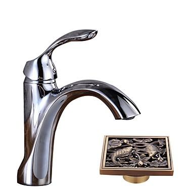Fürdőszoba mosogató csaptelep - Széleskörű Króm Három lyukas Egy fogantyú egy lyukkal