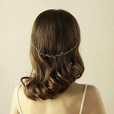Gemstone & Crystal / Tulle / Imitation Pearl Headbands / Headpiece / Head Chain with Crystal / Feather 1 Wedding / Special Occasion / Anniversary Headpiece