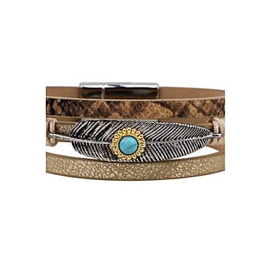 economico Bracciali-Per uomo Per donna Bracciali in pelle Piume Vintage Punk Pelle Gioielli braccialetto Blu scuro / Grigio / Caffè Per Casual Per uscire