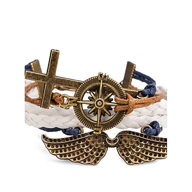 Wrap Bracelet / Leather Bracelet / Bracelet - Cross, Wings Punk, Cross, Rock Bracelet Brown For Casual / Stage / Street