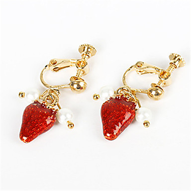 Women's Synthetic Ruby Clip Earrings - Imitation Pearl Fruit Personalized, Fashion Gold For Daily / Casual