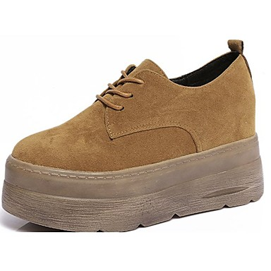 Women's Shoes Suede Fall Comfort Oxfords Creepers Round Toe Lace-up Black / Beige / Brown
