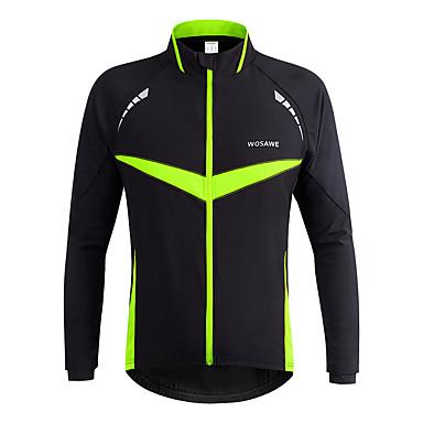 WOSAWE Unisex Cycling Jacket Bike Jacket / Winter Jacket / Top Windproof, Reflective Strips Classic Polyester Winter Green Bike Wear