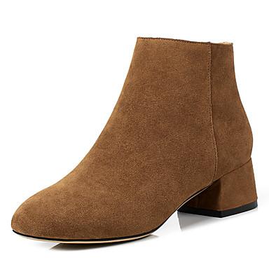Жен. Обувь Натуральная кожа Кожа Зима Осень Армейские ботинки Ботинки На толстом каблуке Круглый носок Ботинки для Повседневные Черный