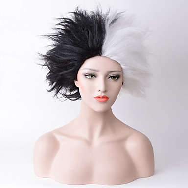 Synthetic Wig Straight Synthetic Hair Natural Hairline Black / White Wig Women's Medium Length Capless Black / White