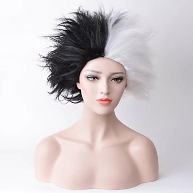 Szintetikus parókák Egyenes Szintetikus haj Természetes hajszálvonal Fekete / Fehér Paróka Női Közepes Sapka nélküli Fekete / Fehér
