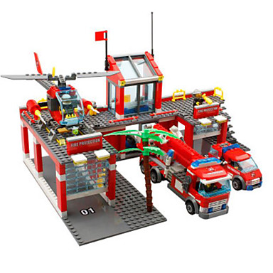 Toy Car / Building Blocks Forklift / Fire Engine Fire Engine Vehicle Boys' Gift