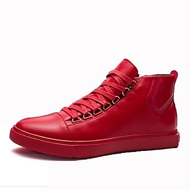 Men's PU(Polyurethane) Spring / Fall Comfort Sneakers White / Black / Red