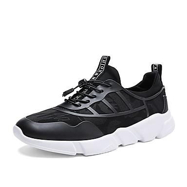 Férfi cipő PU Tavasz Ősz Kényelmes Sportcipők Gyalogló Fűző mert Hétköznapi Szabadtéri Fekete
