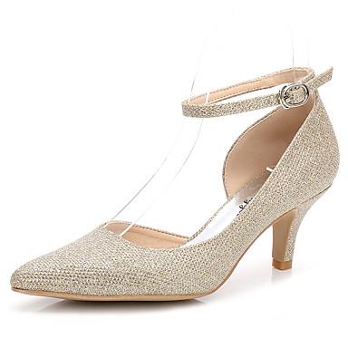 Női Cipő Glitter Tavasz / Ősz Magasított talpú / Boka pántos Esküvői cipők Magas Erősített lábujj Csat / Tépőzár Arany / Ezüst