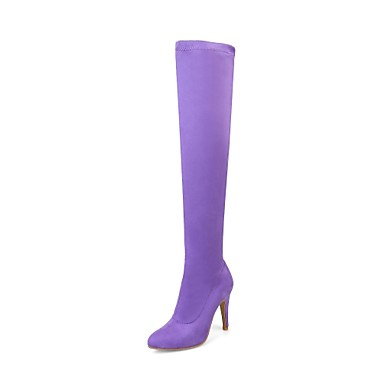 voordelige Dameslaarzen-Dames Laarzen Sock Boots Naaldhak Gepuntte Teen Gevlokt Over de knie laarzen Modieuze laarzen Lente / Herfst Geel / Rood / Roze / Kniehoge laarzen / EU39