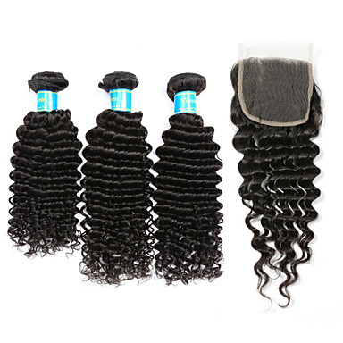 3 Bundles with Closure Brazilian Hair Classic / Deep Wave Human Hair Hair Weft with Closure 8-12 inch Human Hair Weaves 4x4 Closure Human Hair Extensions