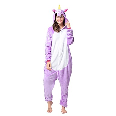 Adults' Kigurumi Pajamas Unicorn Onesie Pajamas Costume Flannel Toison Purple Cosplay For Animal Sleepwear Cartoon Halloween Festival / Holiday / Christmas