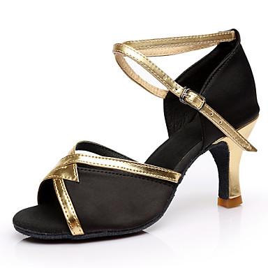 8fbc67d700be cheap Dance Shoes-Women's Latin Silk Heel Performance Customized Heel  Brown