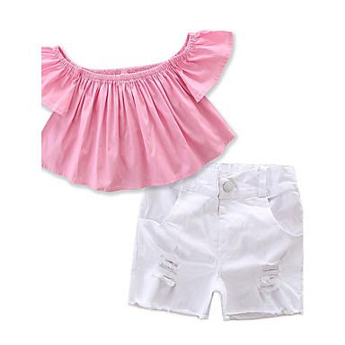 Pamut Poliészter Egyszínű Nyár Rövid ujjú Lány Ruházat szett Elegáns ruházat Arcpír rózsaszín