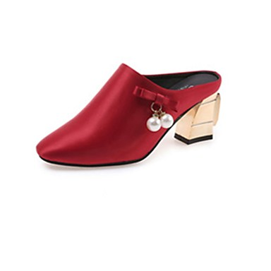 2d3cf92012ec Women s PU(Polyurethane) Spring Comfort Clogs   Mules Chunky Heel Pointed  Toe Pearl Black   Gray   Red