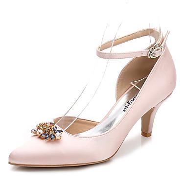 Női Cipő Selyem Tavasz Ősz Boka pántos Magasított talpú Esküvői cipők Magas Erősített lábujj Strasszkő Kristály Glitter mert Esküvő Party