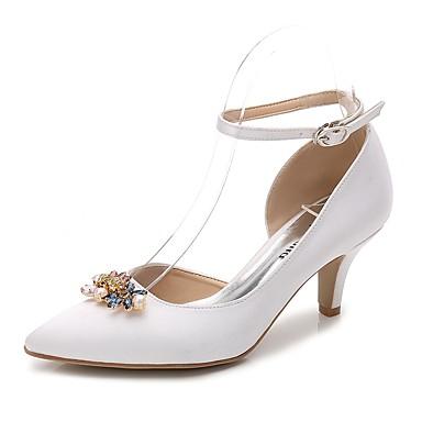 Cône Femme de Chaussures pointu Soie de Automne Printemps Chaussures mariage Cheville Escarpin Bride Talon Strass Basique 06222114 Bout vqpOFAnv