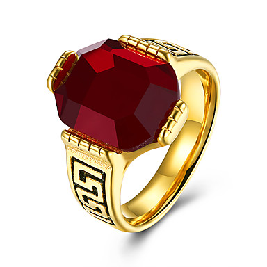 Men's Synthetic Ruby Band Ring - Stainless Steel Fashion 7 / 8 / 9 Black / Red For Party / Daily