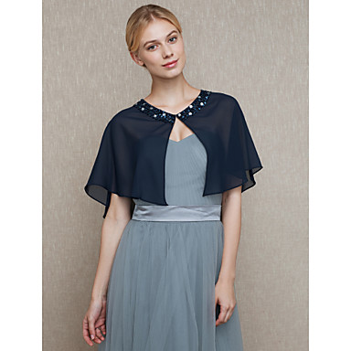 Chiffon Wedding / Party / Evening Women's Wrap With Beading / Buttons Capelets