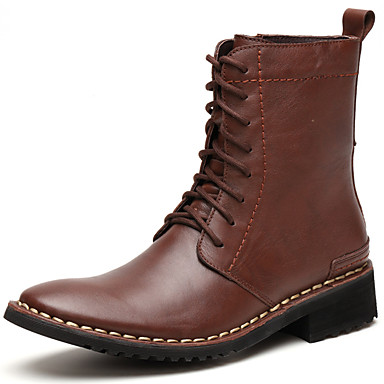 Men's Bootie Nappa Leather Fall / Winter Bootie / Combat Boots Boots Booties / Ankle Boots Black / Brown / Party & Evening