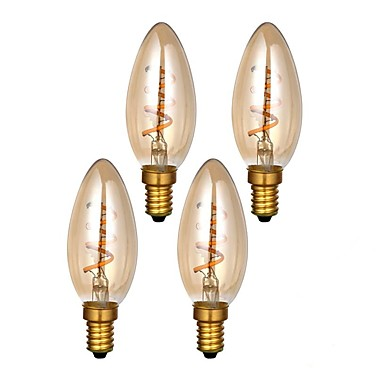 ONDENN 4pcs 3 W 300 lm E14 LED Filament Bulbs C35 1 LED Beads COB Dimmable Warm White 220-240 V