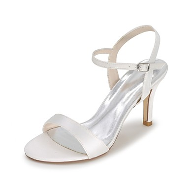 Women's Shoes Satin Spring / Summer Slingback Wedding Shoes Stiletto Heel Open Toe Blue / Champagne / Ivory / Party & Evening