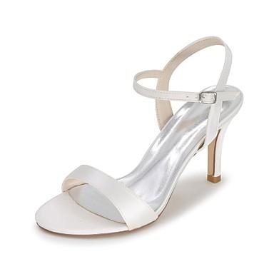 Női Cipő Szatén Tavasz / Nyár Hátsó pántos Esküvői cipők Tűsarok Lábujj nélküli Kék / Világosbarna / Kristály / Party és Estélyi