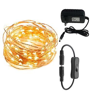 preiswerte Dekorative Beleuchtung-led string lichter 10 mt 100 leds wasserdichte dekorative lichter für schlafzimmer terrasse party 12 v 3a netzstecker adapter stecker inline ein / aus-schalter
