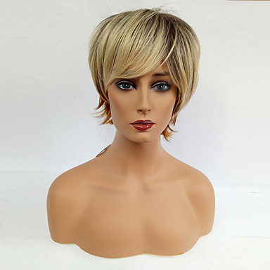 Synthetic Wig Wavy Blonde With Bangs Synthetic Hair Ombre Hair Blonde Wig Women's Short Capless Black / Strawberry Blonde