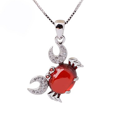 Női Szintetikus rubin Rövid nyakláncok, Nyaklánc medálok - Ezüst, Strassz Ezüst