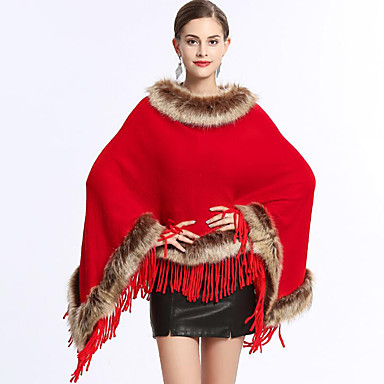 Faux Fur Wedding / Party / Evening Women's Wrap With Tassel Ponchos