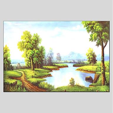 Hang festett olajfestmény Kézzel festett - Landscape Klasszikus Vászon / Nyújtott vászon