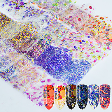 16 pcs 3D Nail Stickers Nail DIY Tools Full Nail Stickers nail art Manicure Pedicure 3D Fashion Daily / Lace Sticker