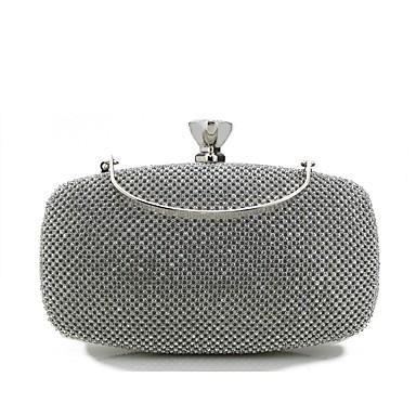 Női Táskák speciális anyaga Estélyi táska Kristály díszítés Fekete / Ezüst