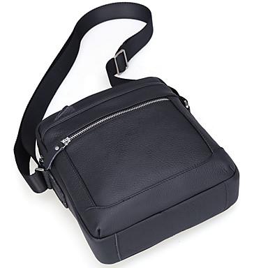 Men's Bags Cowhide Crossbody Bag Zipper Black / Coffee