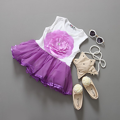 Girl's Holiday Solid Dress, Cotton Summer Sleeveless Lace Purple