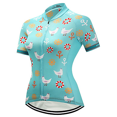 FUALRNY® Women's Short Sleeve Cycling Jersey - Green Bike Jersey, Quick Dry, Reflective Strips Coolmax® / Lycra