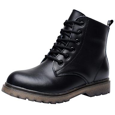 baratos Sapatos de Criança-Para Meninos Couro Botas Little Kids (4-7 anos) / Big Kids (7 anos +) Conforto / Coturnos Cadarço Preto Outono / Inverno / Botas Curtas / Ankle / TPR- Borracha termoplástica / EU36