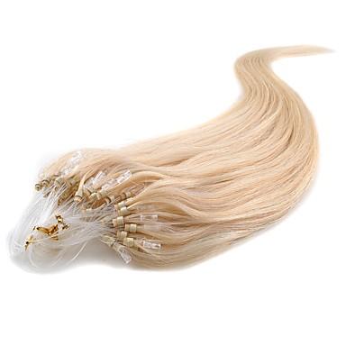 お買い得  ヘアエクステンション-Febay マイクロリングヘアエクステンション 人間の髪の拡張機能 クラシック 人毛 人毛エクステンション ナノヘアエクステンション Nano 女性用 ブリーチブロンド