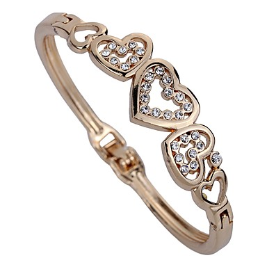 Women's Synthetic Diamond Cuff Bracelet - Rhinestone Heart Personalized, Classic Bracelet Gold For Party / Daily
