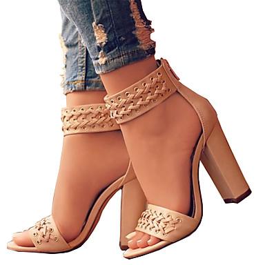 voordelige Damessandalen-Dames Sandalen Open teen  Rits PU Comfortabel / Noviteit Lente / Zomer Zwart / Beige / Bruiloft / Feesten & Uitgaan / Feesten & Uitgaan / EU42