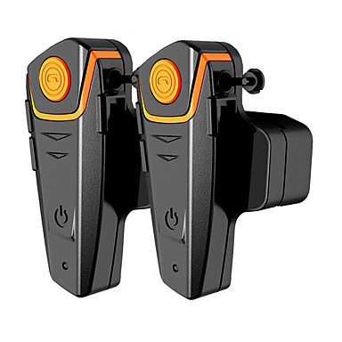 bt-s2-2 1 par de auriculares bluetooth moto, casco de la motocicleta portero intercomunicador mp3 / walkie-talkie