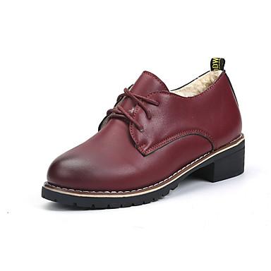 Damen Schuhe PU Frühling Sommer Komfort formale Schuhe Outdoor Flacher Absatz Runde Zehe Schnürsenkel für Normal Kleid Büro & Karriere