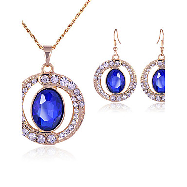 Women's Crystal Jewelry Set - Crystal, Rhinestone Luxury, Fashion Include Drop Earrings / Necklace Blue For Wedding / Party