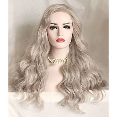 Synthetic Lace Front Wig Wavy Synthetic Hair Gray Wig Women's Long Lace Front