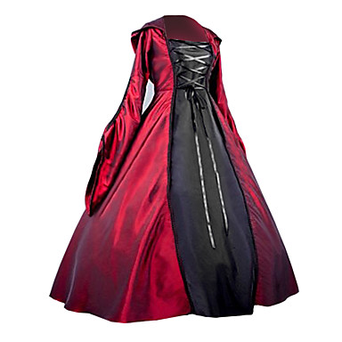 One-Piece/Dress Gothic Lolita Steampunk® Victorian Cosplay Lolita Dress Red/Black Patchwork Long Length Dress Halloween Costume For Women