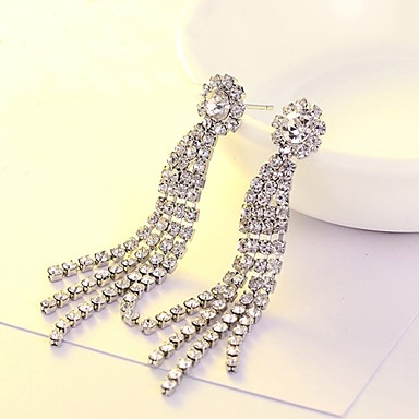 Women's AAA Cubic Zirconia Tassel / Long Stud Earrings / Drop Earrings - Cubic Zirconia Simple Style, Fashion Silver For Party / Stage