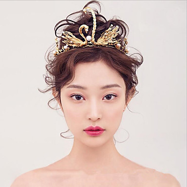 Tulle Imitation Pearl Alloy Tiaras with Feather 1 Wedding Event/Party Party / Evening Headpiece