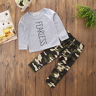 Boys' Camouflage Clothing Set, Cotton Polyester Spring Fall Long Sleeves Cartoon Dresswear Gray
